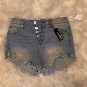High Waisted Light Denim Jean Shorts